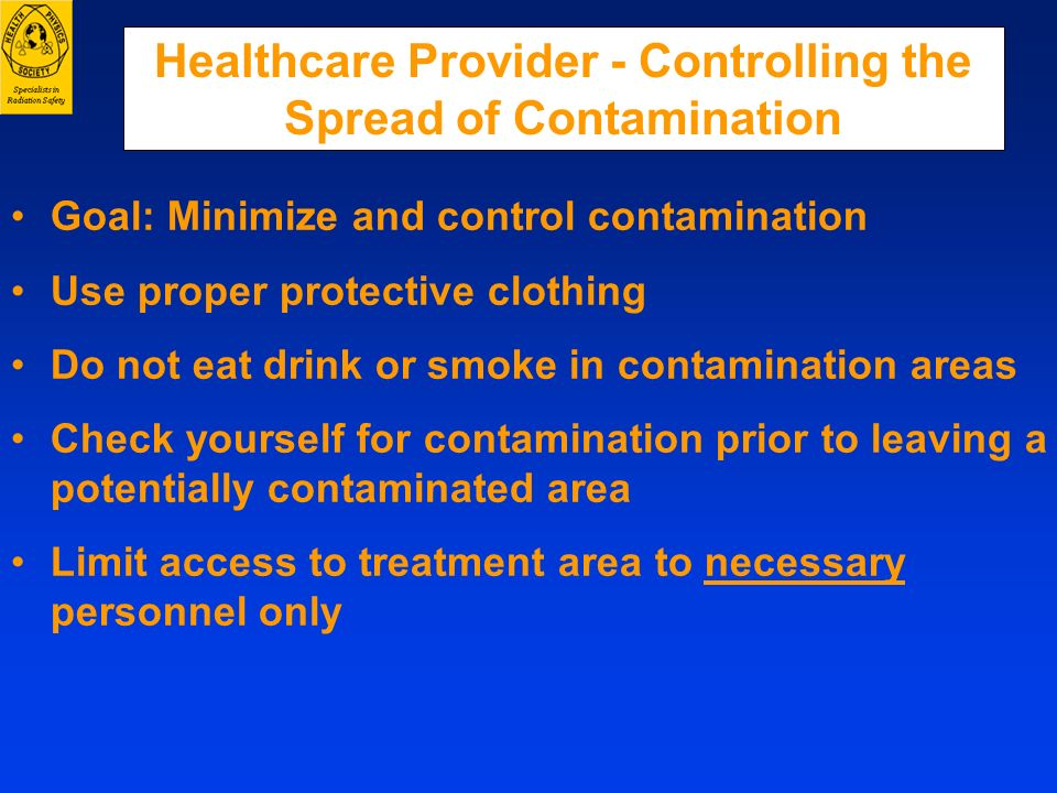Healthcare Provider - Controlling the Spread of Contamination