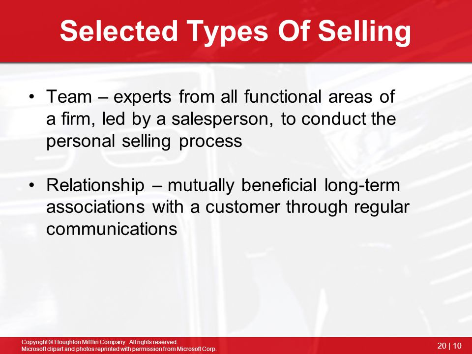 Selected Types Of Selling