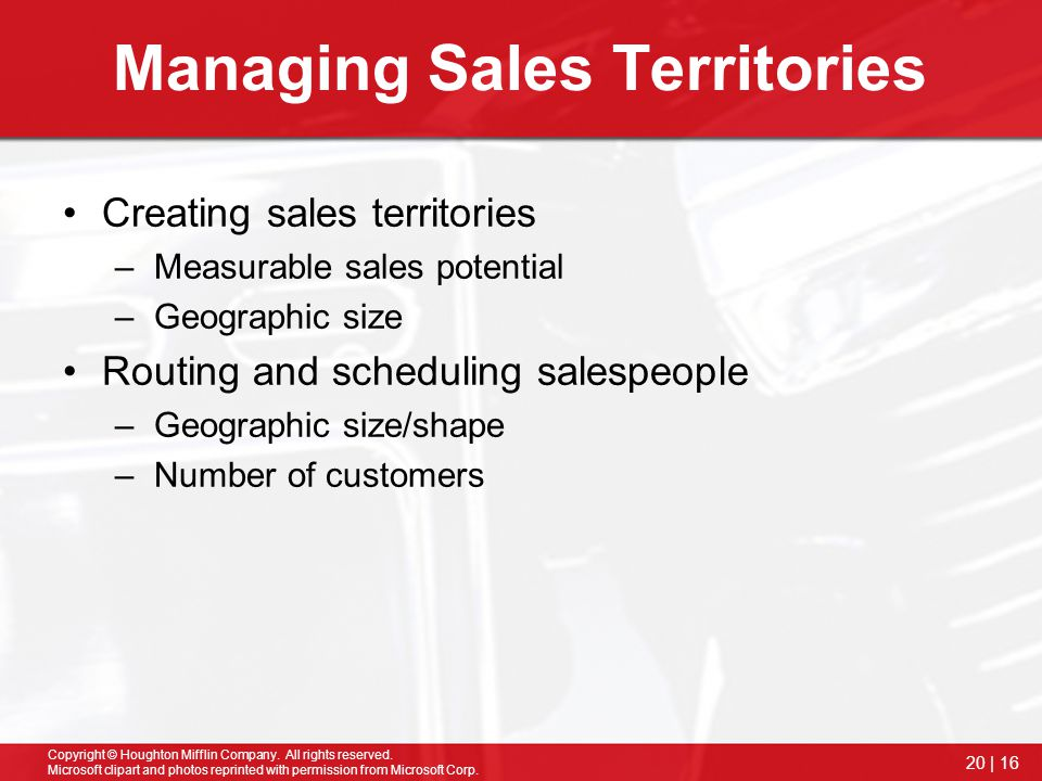 Managing Sales Territories