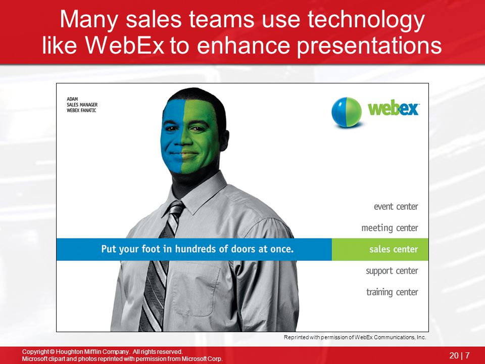 Many sales teams use technology like WebEx to enhance presentations