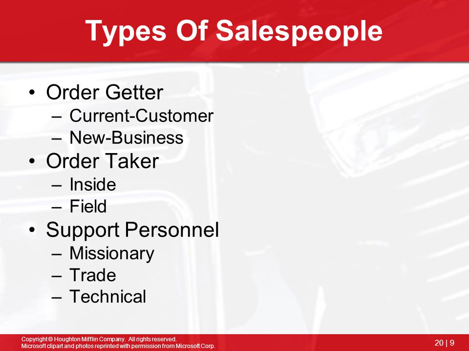 Types Of Salespeople Order Getter Order Taker Support Personnel