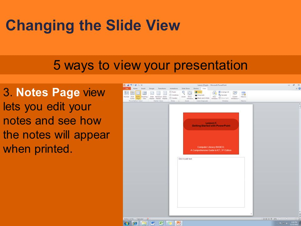 Changing the Slide View
