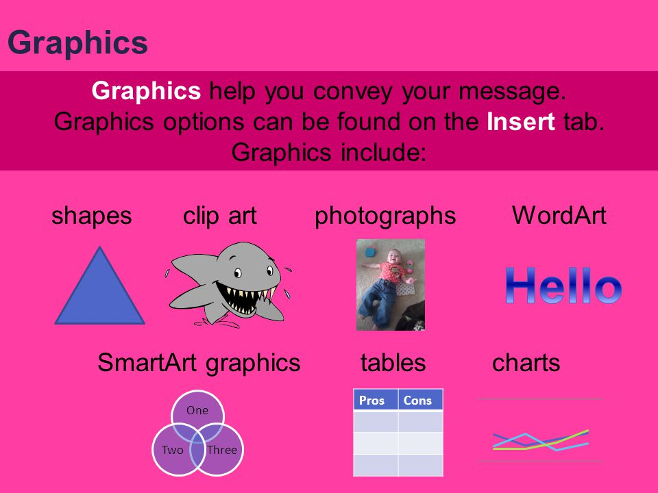Hello Graphics Graphics help you convey your message.
