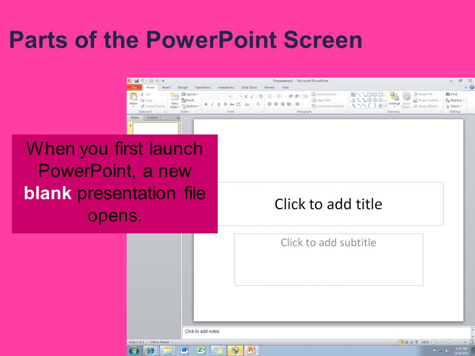 Parts of the PowerPoint Screen