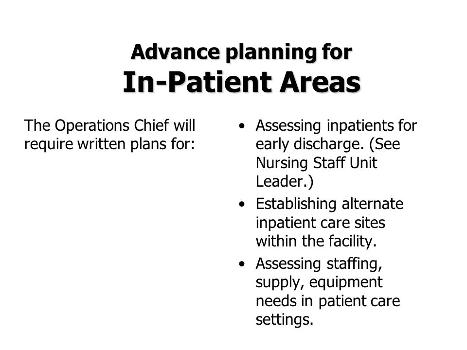 Advance planning for In-Patient Areas