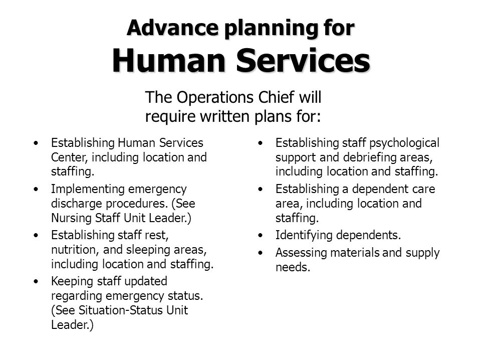 Advance planning for Human Services