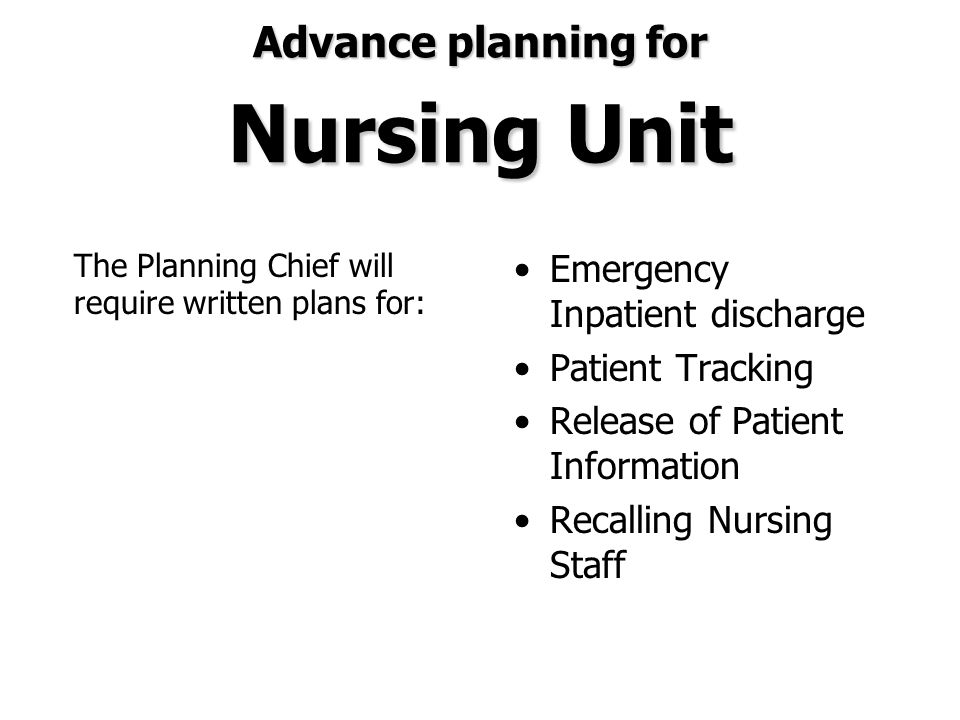 Advance planning for Nursing Unit