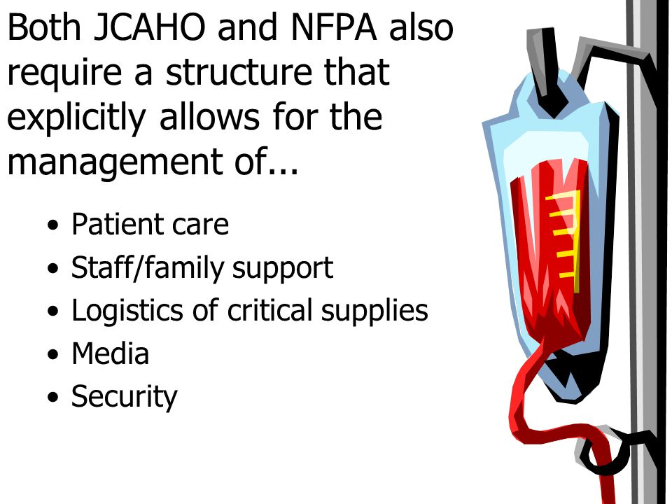 Both JCAHO and NFPA also require a structure that explicitly allows for the management of...