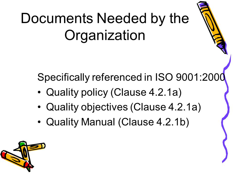 Documents Needed by the Organization
