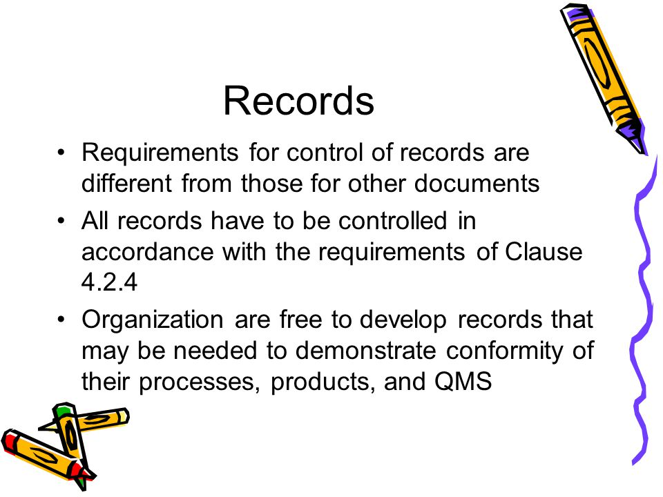 Records Requirements for control of records are different from those for other documents.