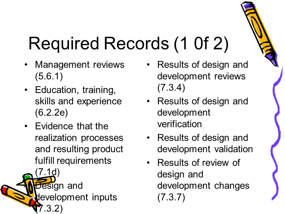 Required Records (1 0f 2) Management reviews (5.6.1)