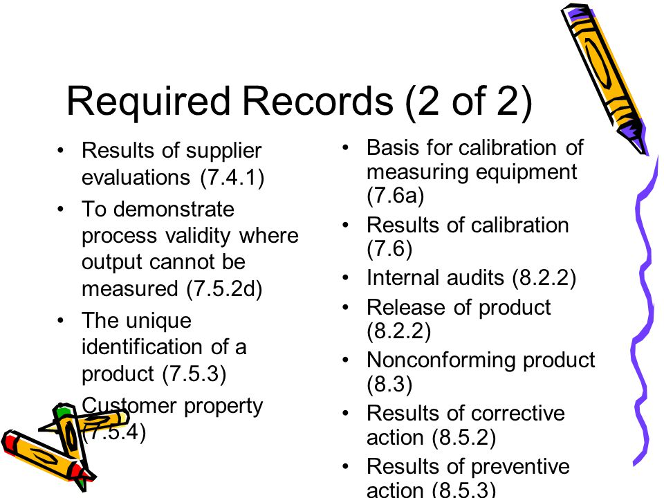 Required Records (2 of 2) Results of supplier evaluations (7.4.1)