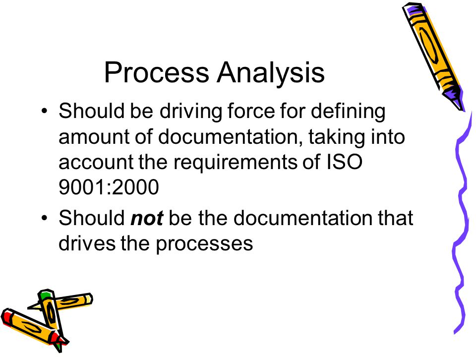 Process Analysis Should be driving force for defining amount of documentation, taking into account the requirements of ISO 9001:2000.
