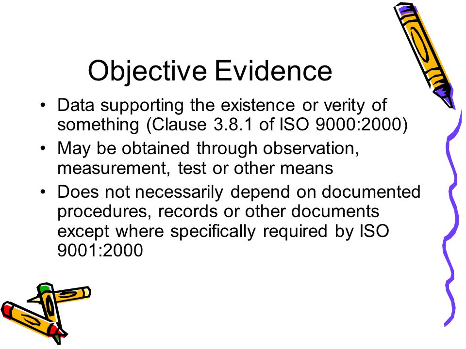 Objective Evidence Data supporting the existence or verity of something (Clause of ISO 9000:2000)