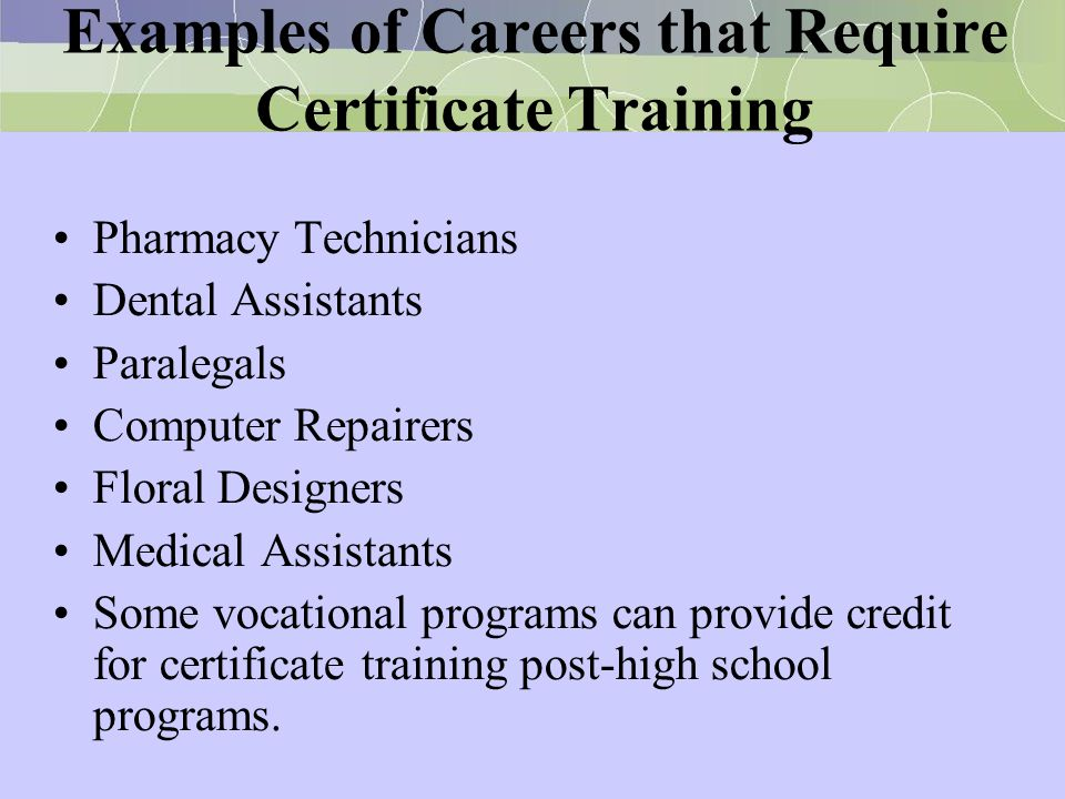 Examples of Careers that Require Certificate Training