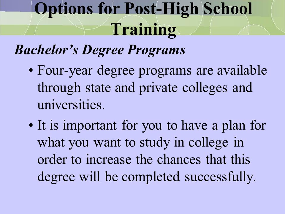Options for Post-High School Training