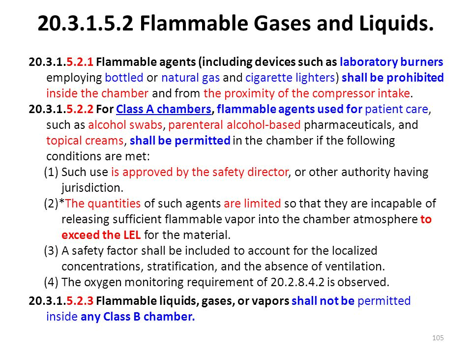 20.3.1.5.2 Flammable Gases and Liquids.