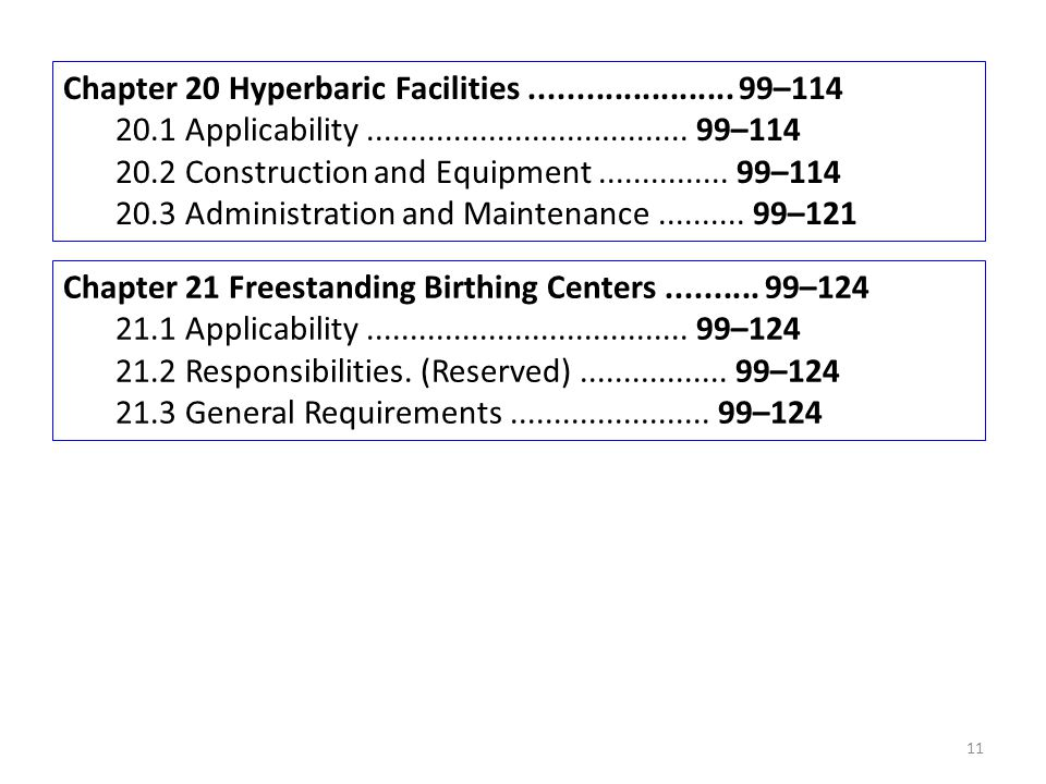 Chapter 20 Hyperbaric Facilities ...................... 99–114