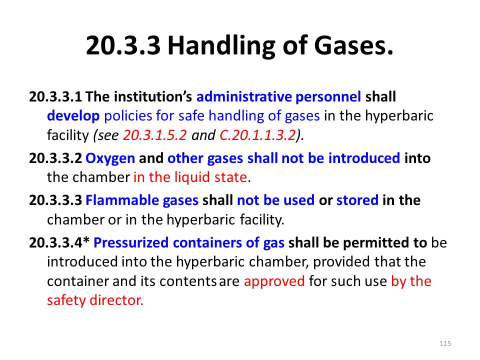 20.3.3 Handling of Gases.