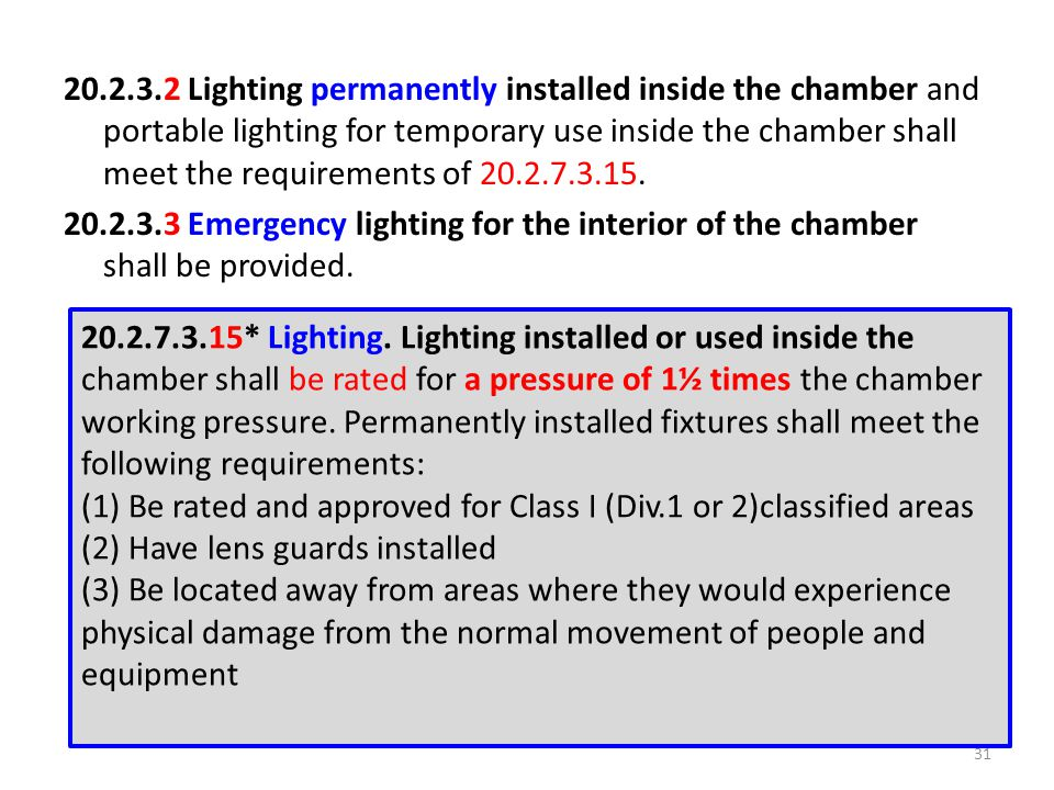 20.2.3.2 Lighting permanently installed inside the chamber and portable lighting for temporary use inside the chamber shall meet the requirements of 20.2.7.3.15. 20.2.3.3 Emergency lighting for the interior of the chamber shall be provided.