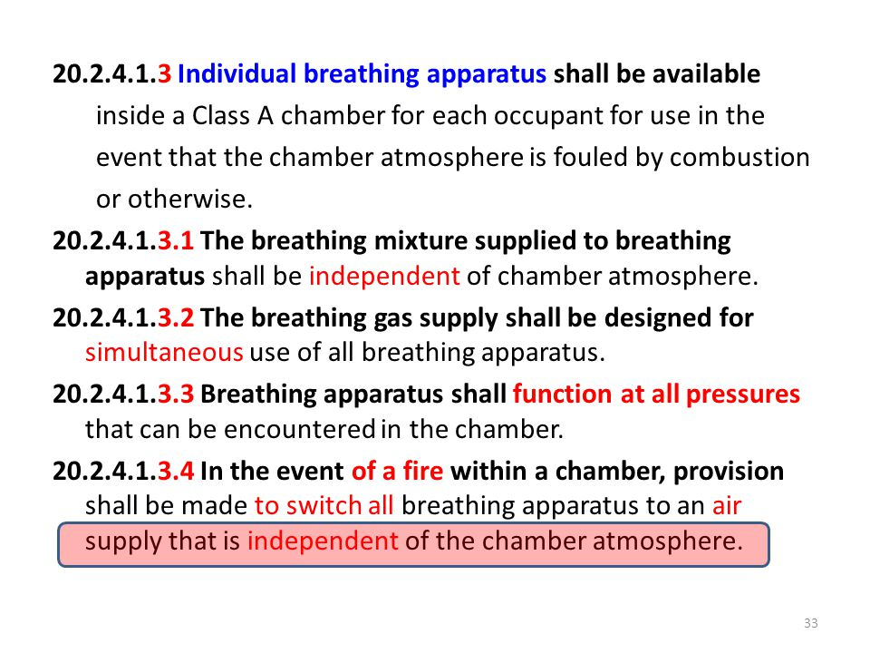 20.2.4.1.3 Individual breathing apparatus shall be available inside a Class A chamber for each occupant for use in the event that the chamber atmosphere is fouled by combustion or otherwise.