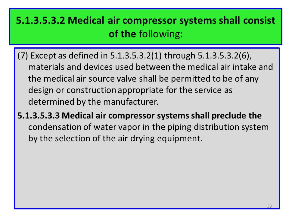 5.1.3.5.3.2 Medical air compressor systems shall consist of the following: