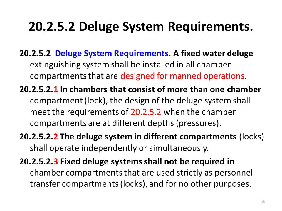 20.2.5.2 Deluge System Requirements.