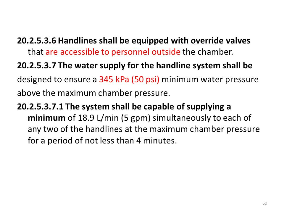 20.2.5.3.6 Handlines shall be equipped with override valves that are accessible to personnel outside the chamber.