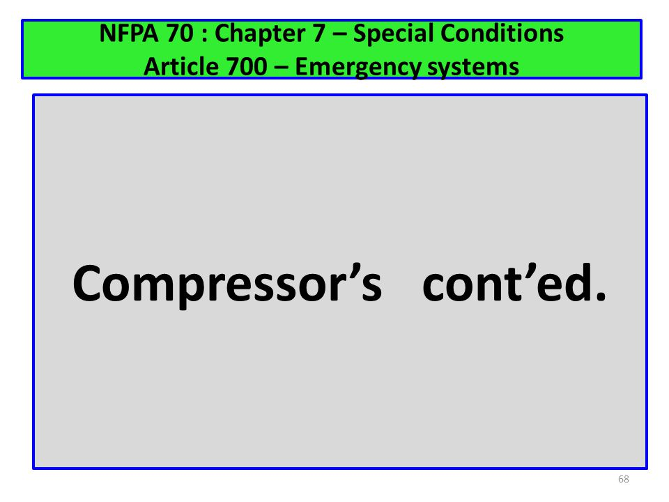 NFPA 70 : Chapter 7 – Special Conditions Article 700 – Emergency systems