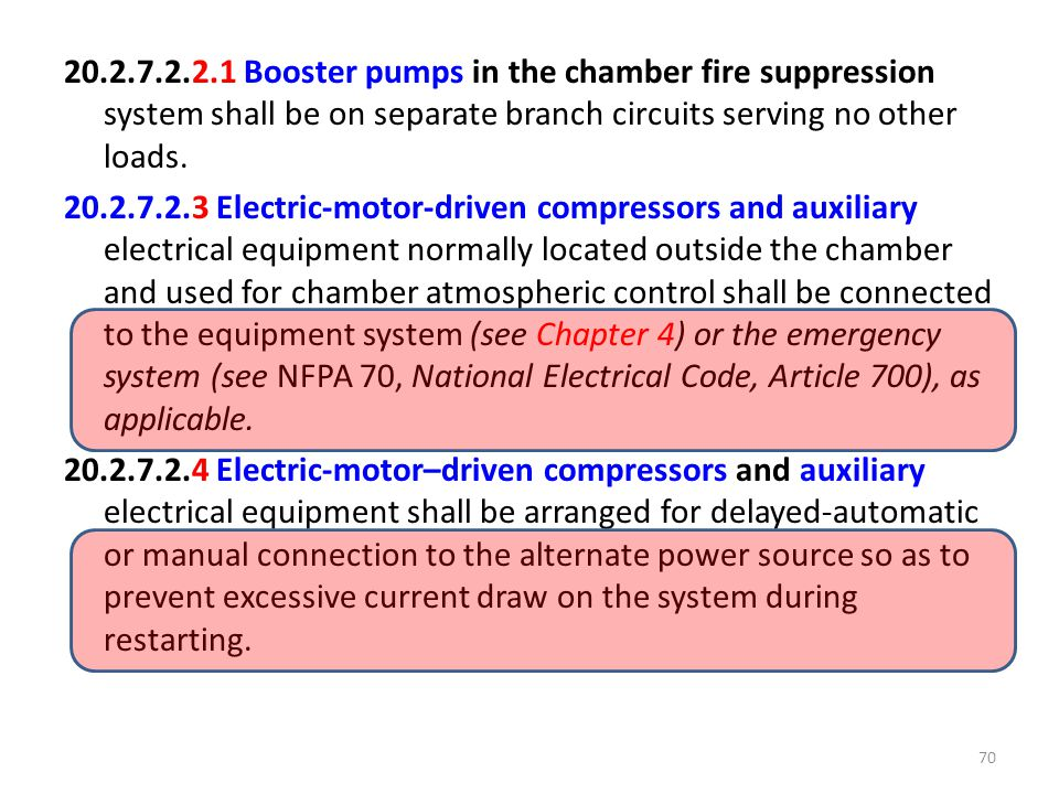 20.2.7.2.2.1 Booster pumps in the chamber fire suppression system shall be on separate branch circuits serving no other loads.