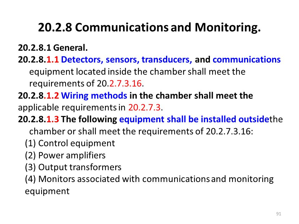 20.2.8 Communications and Monitoring.
