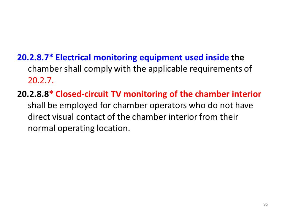 20.2.8.7* Electrical monitoring equipment used inside the chamber shall comply with the applicable requirements of 20.2.7.