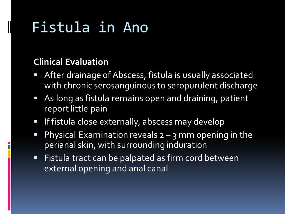 Fistula in Ano Clinical Evaluation