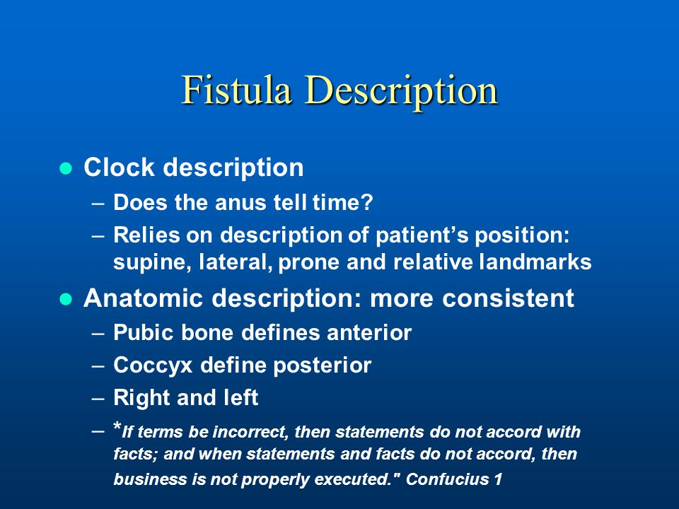 Fistula Description Clock description