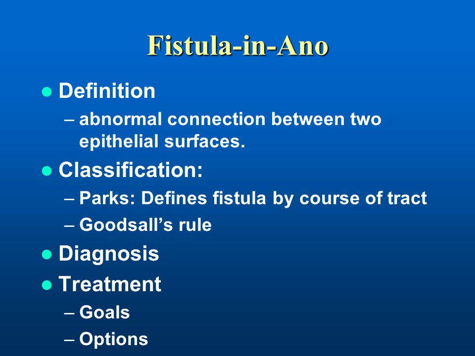Fistula-in-Ano Definition Classification: Diagnosis Treatment