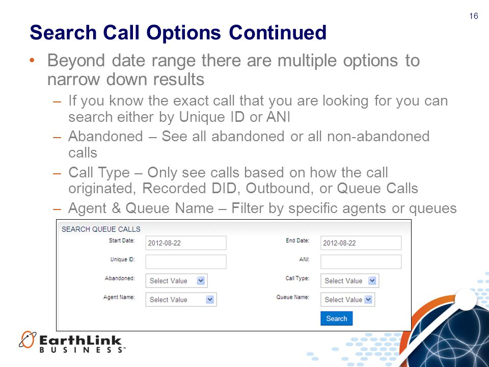 Search Call Options Continued