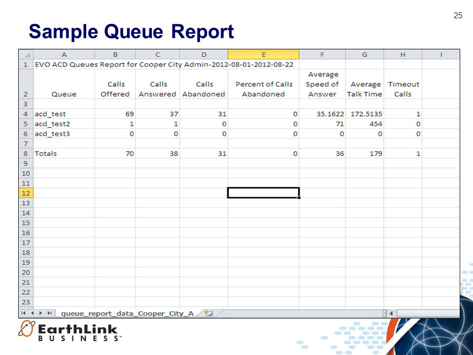 Sample Queue Report