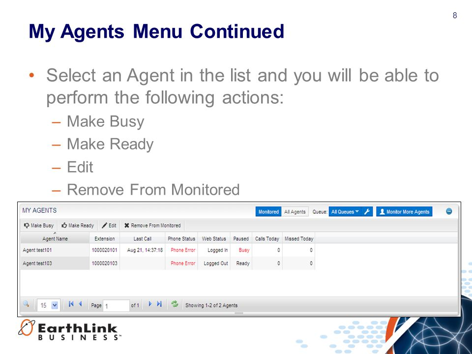 My Agents Menu Continued