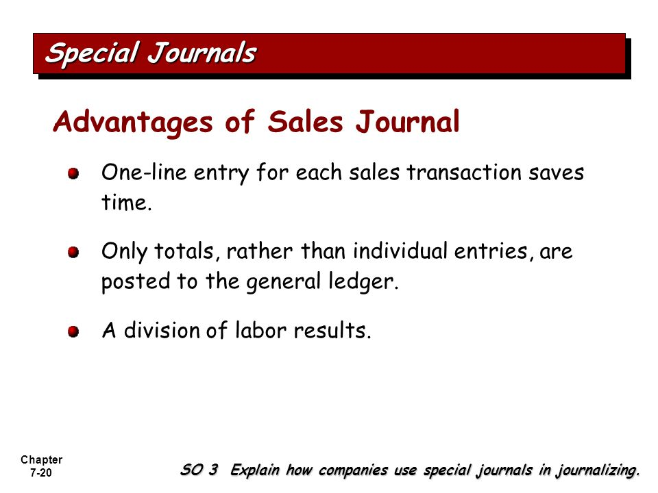 Advantages of Sales Journal