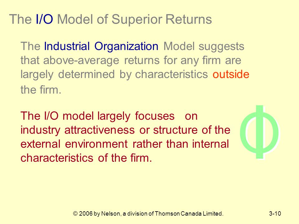 The I/O Model of Superior Returns