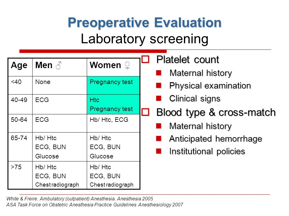 Preoperative Evaluation Laboratory screening