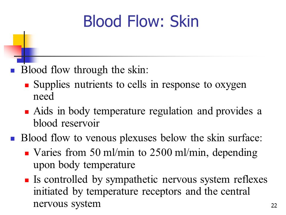 Blood Flow: Skin Blood flow through the skin: