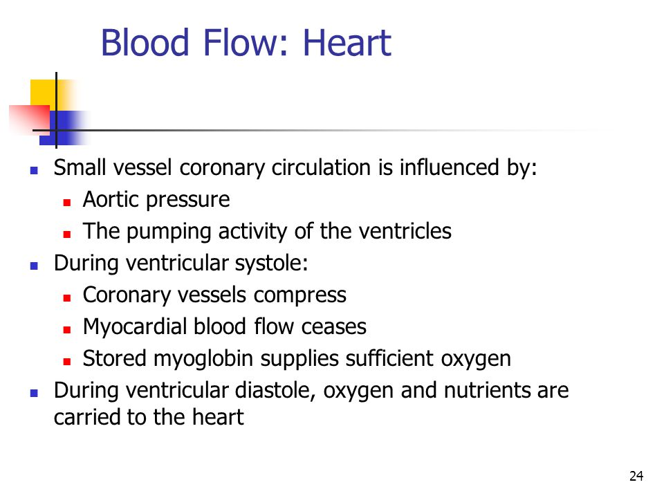 Blood Flow: Heart Small vessel coronary circulation is influenced by: