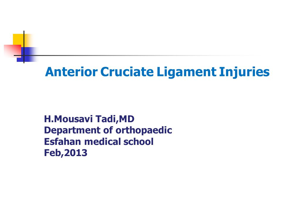 Anterior Cruciate Ligament Injuries Ppt Video Online Download