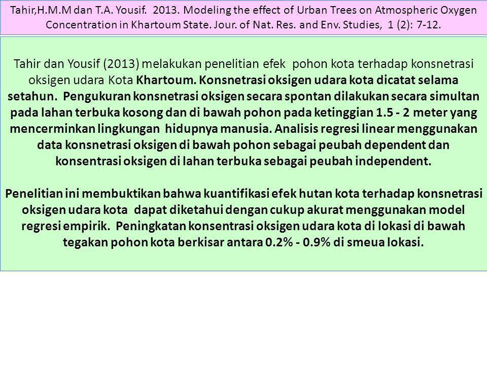 Tahir,H.M.M dan T.A. Yousif. 2013. Modeling the effect of Urban Trees on Atmospheric Oxygen Concentration in Khartoum State. Jour. of Nat. Res. and Env. Studies, 1 (2): 7-12.