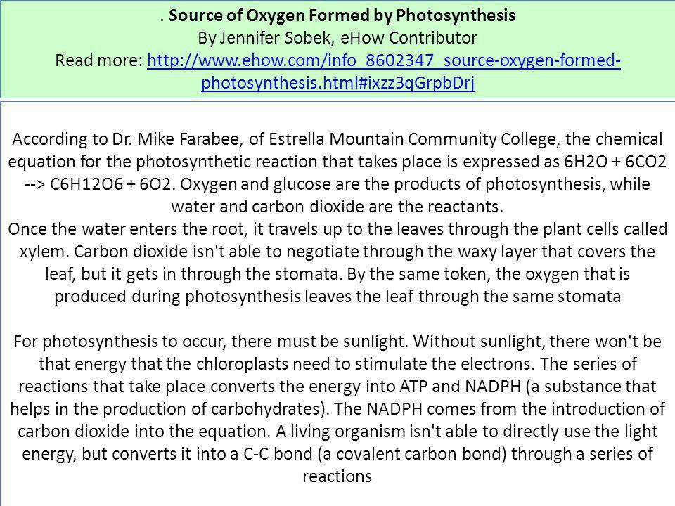 . Source of Oxygen Formed by Photosynthesis