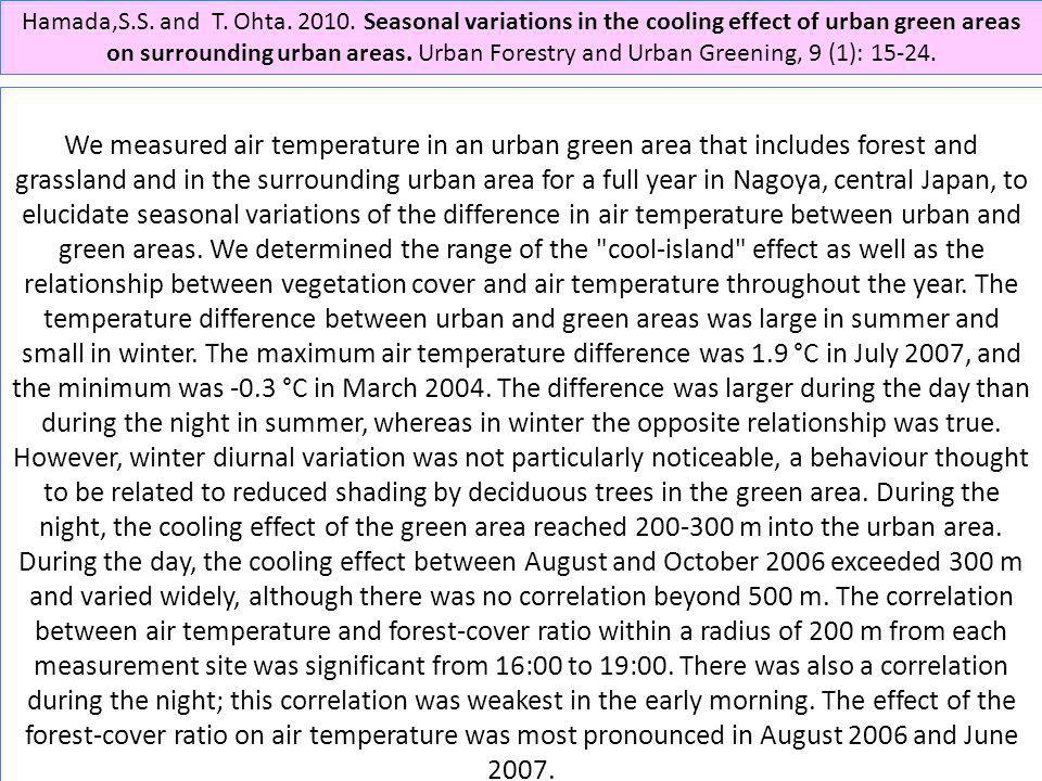 Hamada,S.S. and T. Ohta. 2010. Seasonal variations in the cooling effect of urban green areas on surrounding urban areas. Urban Forestry and Urban Greening, 9 (1): 15-24.