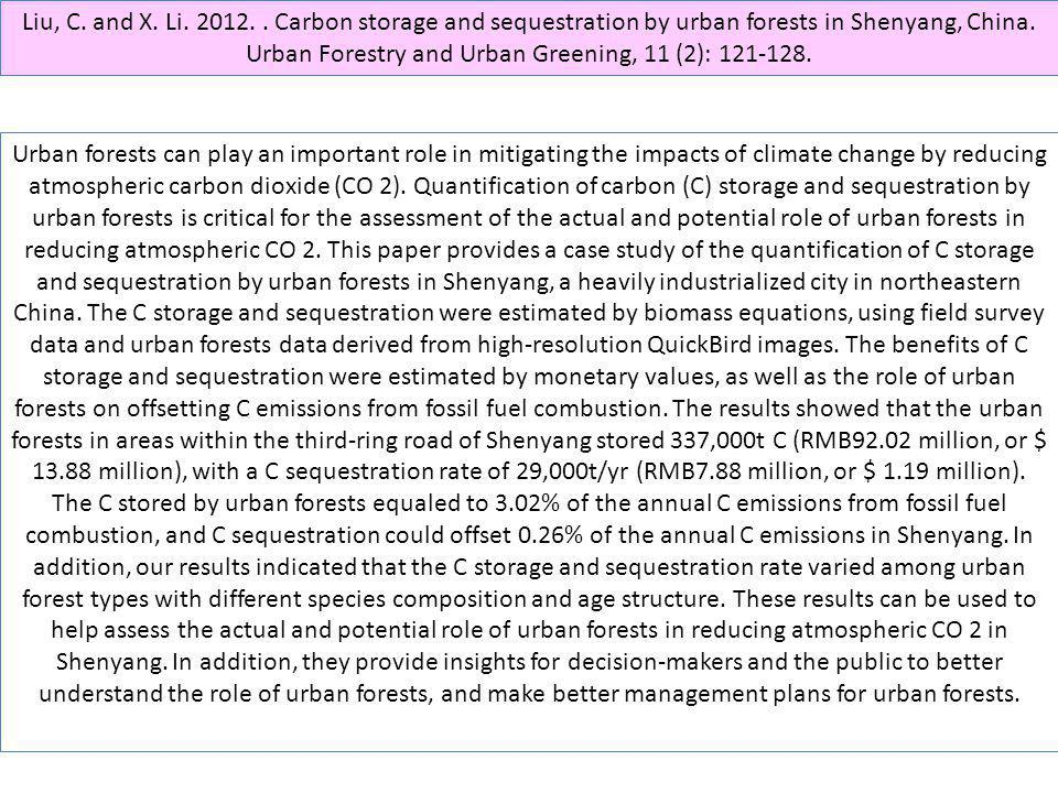Liu, C. and X. Li. 2012. . Carbon storage and sequestration by urban forests in Shenyang, China. Urban Forestry and Urban Greening, 11 (2): 121-128.
