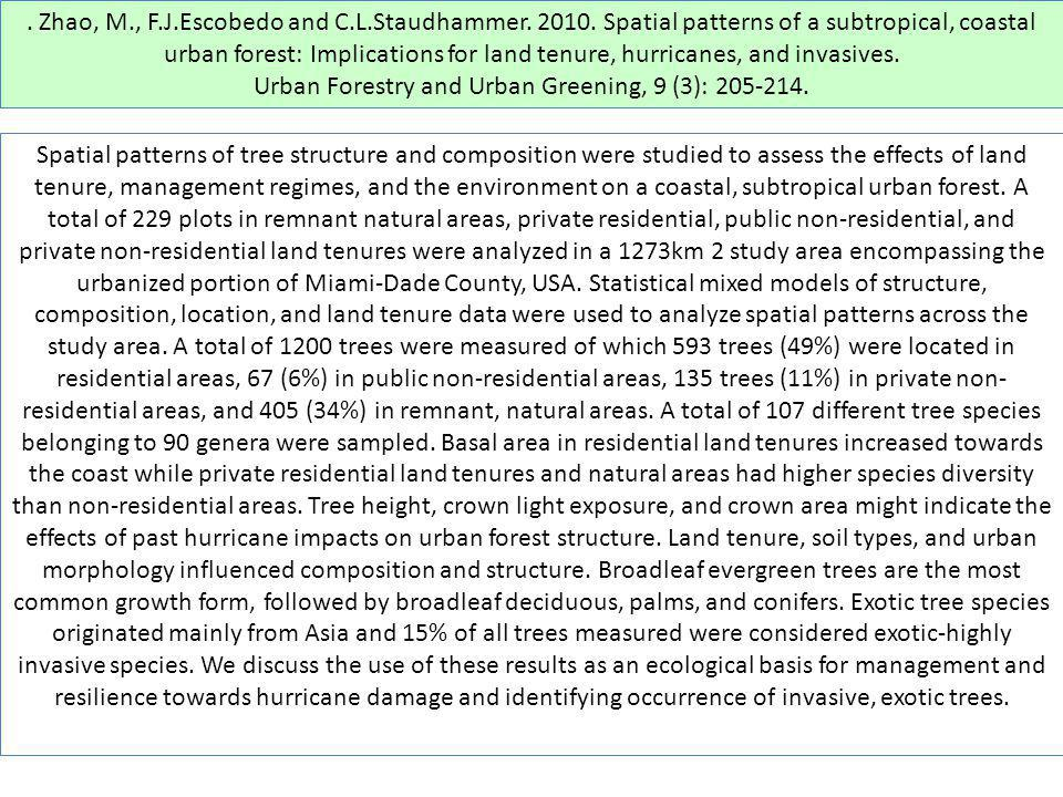 Urban Forestry and Urban Greening, 9 (3): 205-214.