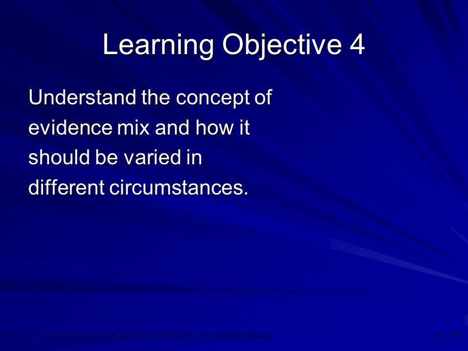 Learning Objective 4 Understand the concept of evidence mix and how it